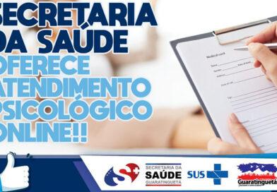 Secretaria da saúde segue com o atendimento psicológico online e gratuito em Guaratinguetá