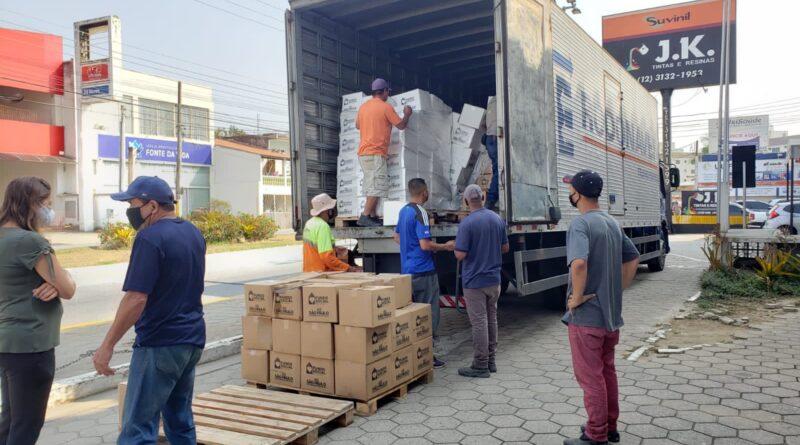 Guaratinguetá recebe 13 toneladas de alimentos para doação às famílias de baixa renda